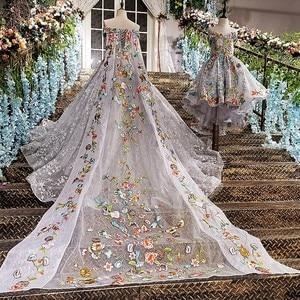 Image 2 - LS00147 lange abendkleid 2020 spitze up zurück appliques grau mutter tochter kleider mit abnehmbaren cape vestido longo de festa
