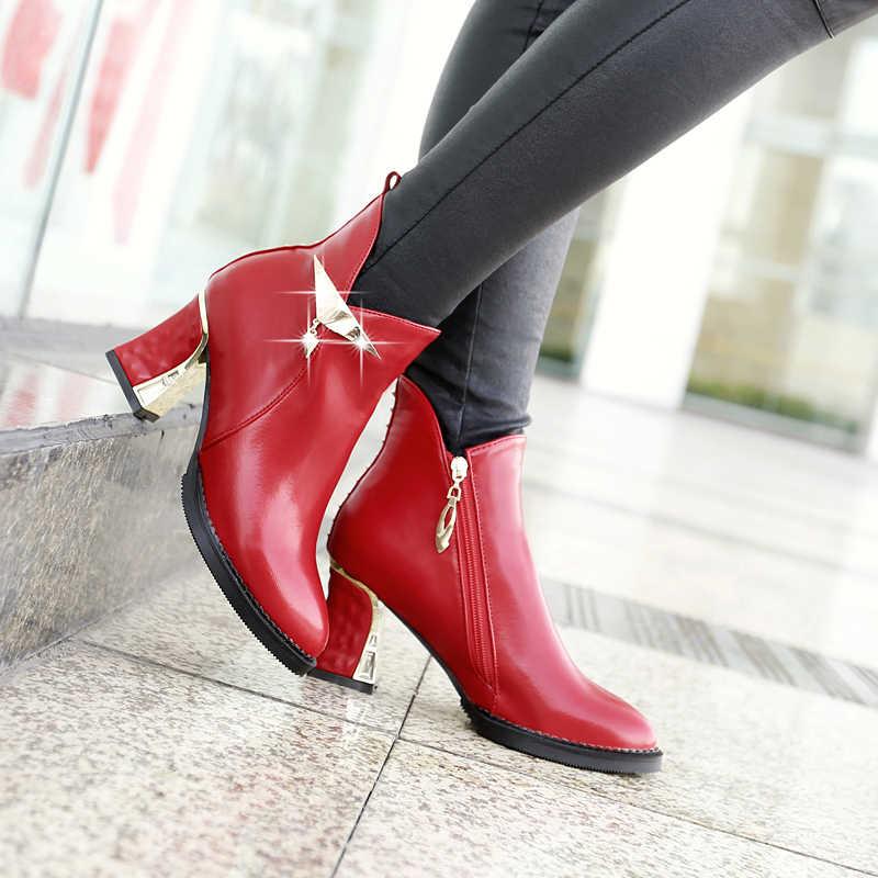 2016 Yeni kış kadın çizmeler Büyük boy 34-48 Moda Perçinler dekorasyon kırmızı yüksek topuk ayakkabı sıcak Pu deri yarım çizmeler AYY-901