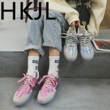 HKJL Fashion Female 2019 spring new Korean edition laser fashion trend student sports jelly sole A457