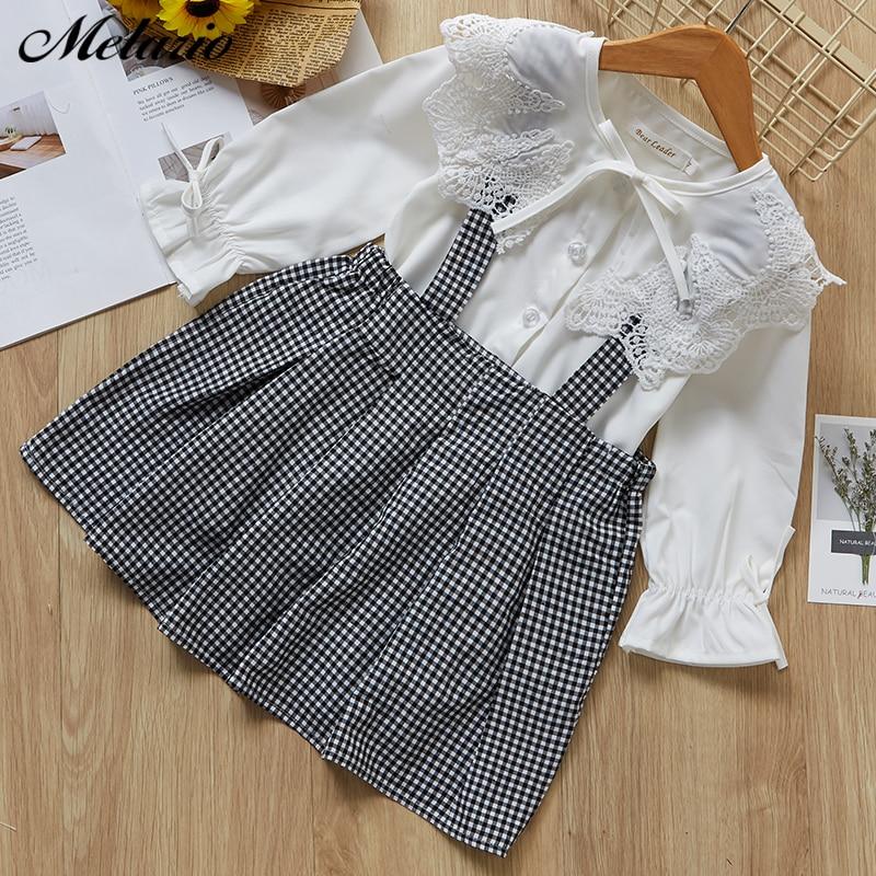 b4508a964 Melario Cute Girls vestido 2019 nuevo otoño Inglaterra encaje camisa de  manga larga + vestido de ...