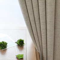 CITYINCITY Plaid Blackout Home Decor Curtain Faux Linen Plain Curtains Darpe For Bedroom Livingroom Rideaux Window