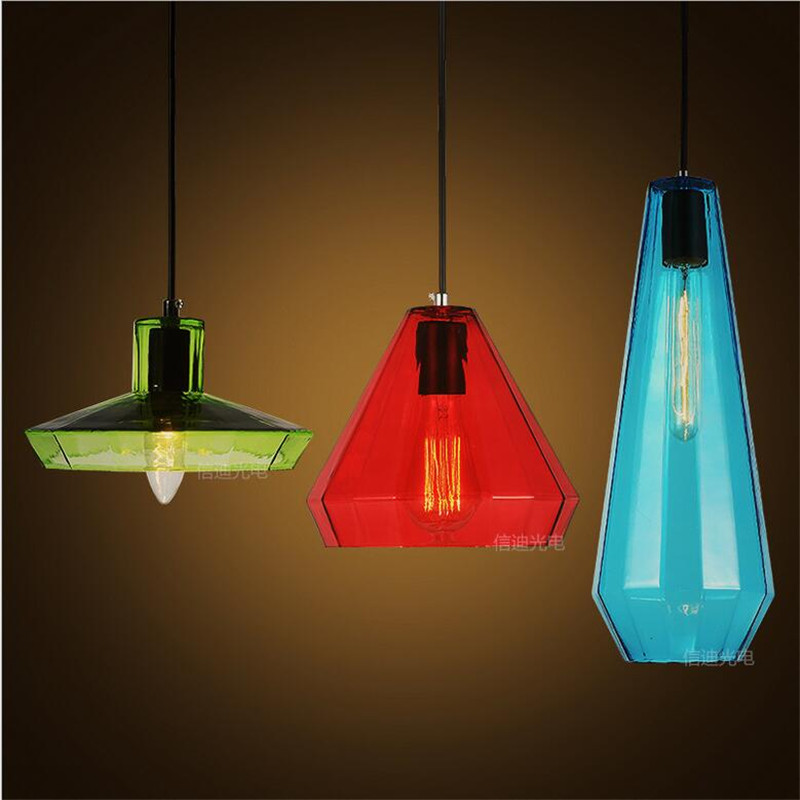 Vintage Candy Colors Handmade Crystal Glass Led e27/e14 Pendant Light for Dining Room Restaurant Living Room Lamps 1489 vintage handmade carved crystal glass bulbs led g9 pendant light for dining room living room bar restaurant lamps 1484