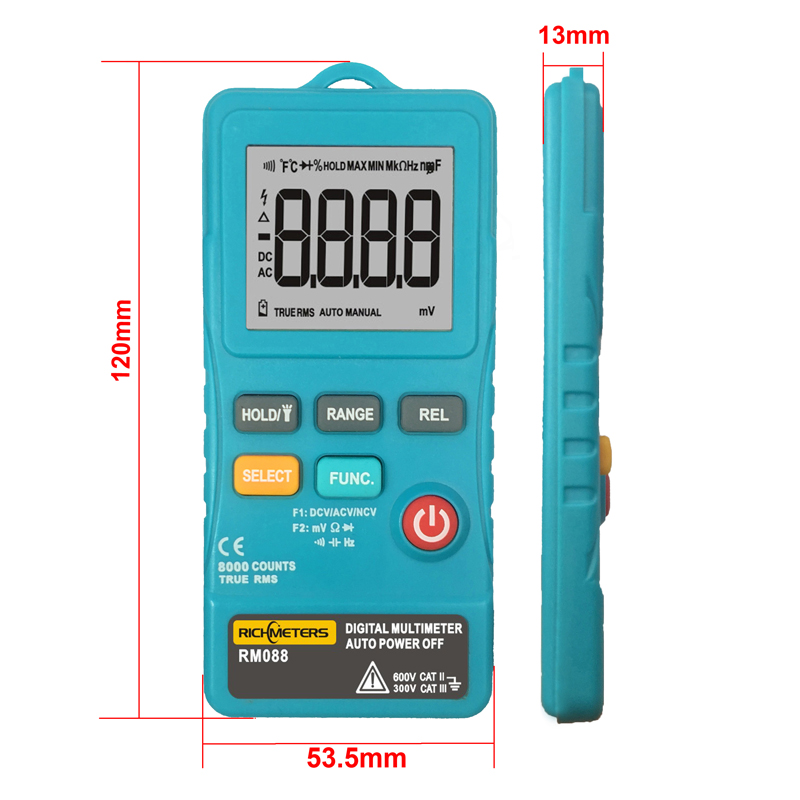 RICHMETERS RM088 Mini Digital Multimeter 8000 counts Line Frequency True-RMS Flash light AC/DC Voltage Ohm