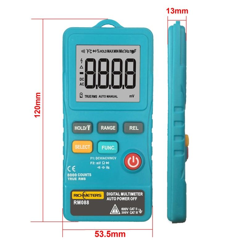 RICHMETERS RM088 Mini Multimètre Numérique 8000 points Ligne Fréquence Vrai-RMS Flash lumière AC/DC Tension Ohm