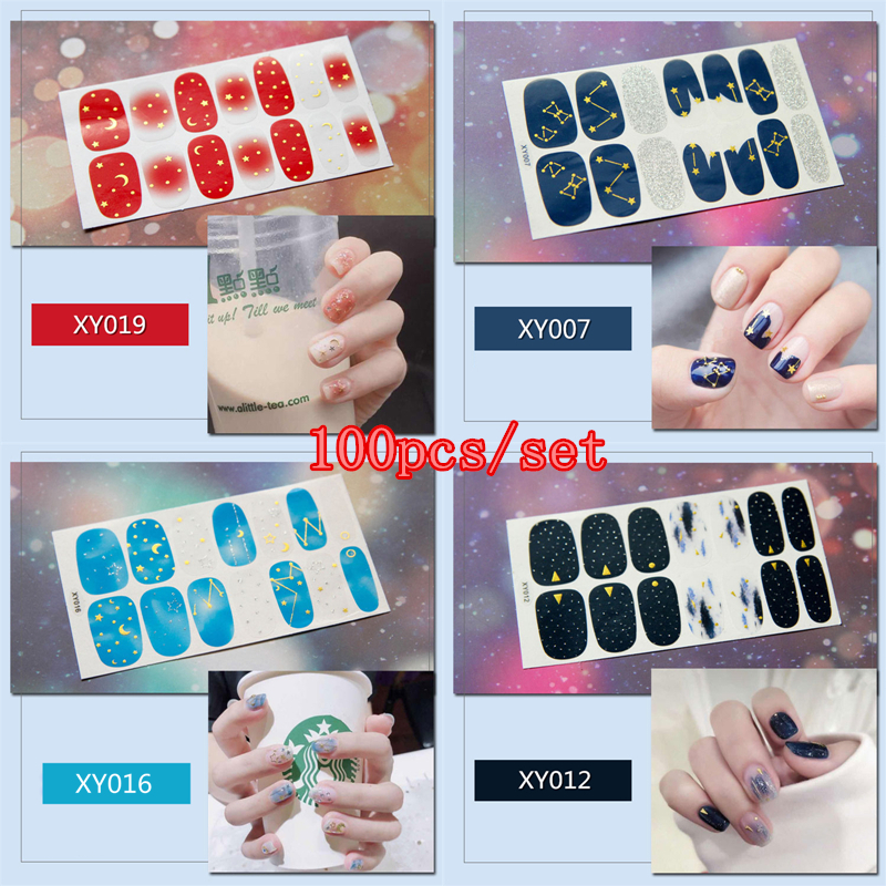 100pcs Full Covered Nail Stickers Mixed Moon Sun Star 20 Designs Decal Wrap DIY Nail Art Decorations Manicure Beauty Accessory стоимость
