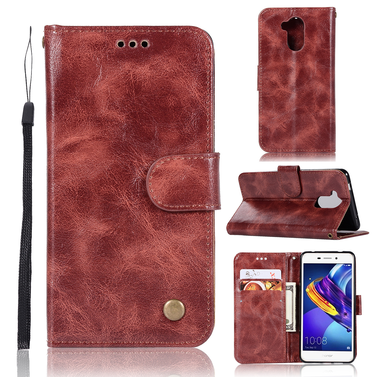 20PCS Retro Business Cases Wallet For Huawei Honor 6C Pro Case Retro Flip Book Leather Cover