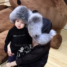 Новая Россия меховая шапка зима мальчик девочка натуральным лисьим Мех шляпа родитель-ребенок детей наушник Обувь на теплом меху шапка помпоном женские ухо меха лисы шапка