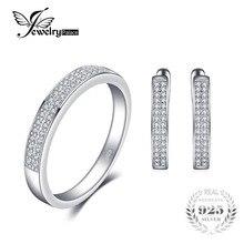 Jewelrypalace модные Обручение кольцо серьги стерлингового серебра 925 Свадебный комплект ювелирных изделий Классические 925 Красивые ювелирные изделия для Для женщин