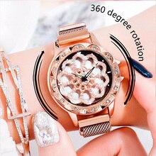 Women's 360 Degree Rotation Watches Lucky Watch Fashion Rose Gold Ladies Crystal Magnet Quartz WristWatch Gifts relogio feminino