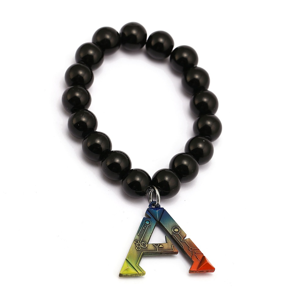 ARK Survival Evolved Bracelets Fashion Game Handmade Natural Black Onyx Beads Bracelet Men Women Jewelry Accessories
