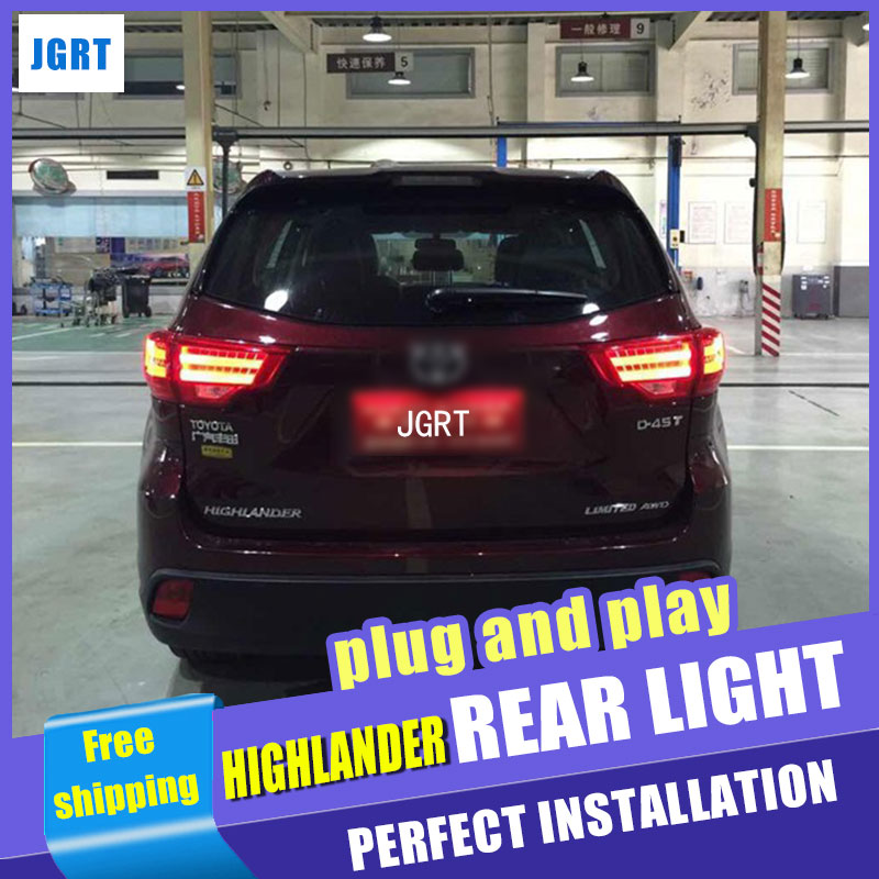 Car Styling New Highlander tail lights 2014-2015 For Toyota Highlander LED Tail Lamp rear lamp cover drl+signal+brake+reverse car styling tail lights for toyota highlander 2015 led tail lamp rear trunk lamp cover drl signal brake reverse