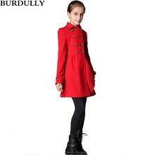BURBULLY D'hiver Filles manteau Enfants De Laine Vêtements de plein air Enfants Style Long Slim Double Breasted Pardessus Hight Qualité Classique