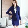 Azul de Dos Piezas de Falda de Las Señoras Formales Traje Diseños De Uniformes de Oficina Mujer Trajes de Negocios para trabajar