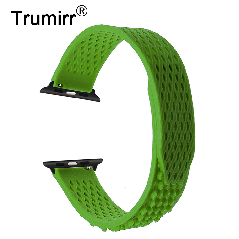 купить Newest Silicone Loop Watchband for 38mm 42mm iWatch Apple Watch Band Rubber Strap Sport Wrist Bracelet Black Blue Green Grey Red дешево