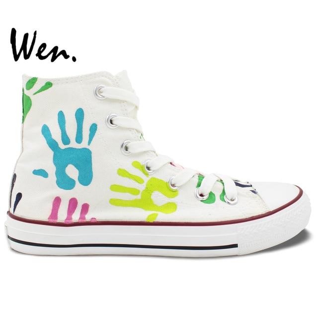 Chaussures De Coloré Palmier Main Design Original Empreintes Peint Peint La À Wen Yzwqn