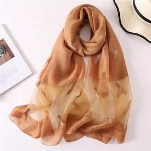 Image 5 - New silk wool scarf women fashion feather embroidery shawl wrap elegant lady Sunscreen pashmina winter neck scarves hijab femme