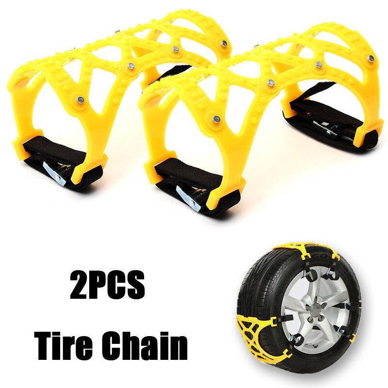 2PCS Universal Yellow Snow Chains Car Vehicle Truck SUV Safe Snow Tire Wheel Chain Anti-skid Belt