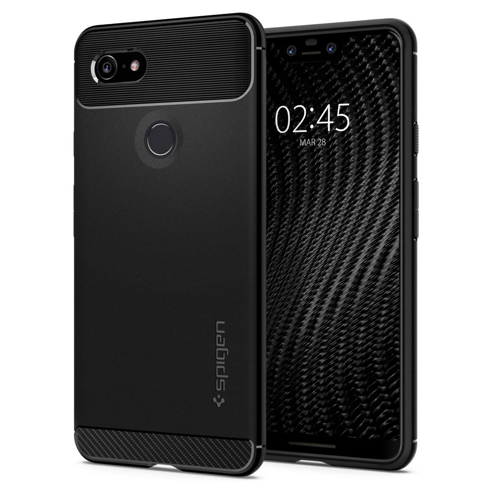 100% Original SPIGEN Google Pixel 3 / Pixel 3 XL Case Rugged Armor Matte Black Soft TPU Anti-Slip Drop Resistance Cases