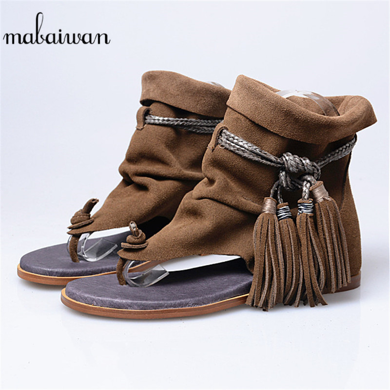 Mabaiwan Summer Tassels Women Gladiator Sandals Flip Flops Fringed Flip Flops Shoes Woman Casual Beach Shoes Suede Leather Flats mabaiwan new women genuine leather gladiator sandals flip flops rope fringe lace up flats shoes woman casual beach zapatos mujer