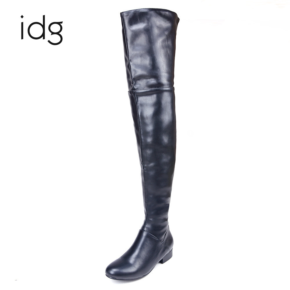 Idg Brand Flat Ultra Long Woman thigh high over the knee genuine leather Boots women Winter Plus Short Plush Keep bota feminina avvvxbw 2016 new brand long boots fashion elastic over the knee boots shoes woman square heel genuine leather thigh high boots