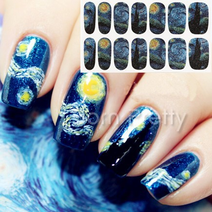 1 Sheet Nail Wraps Mysterious Starry Sky Night Patterned Full Nail Sticker #18954 free shipping new 2017 hot 13 single pure color series classic collection manicure nail polish strips nail wraps full nail sheet