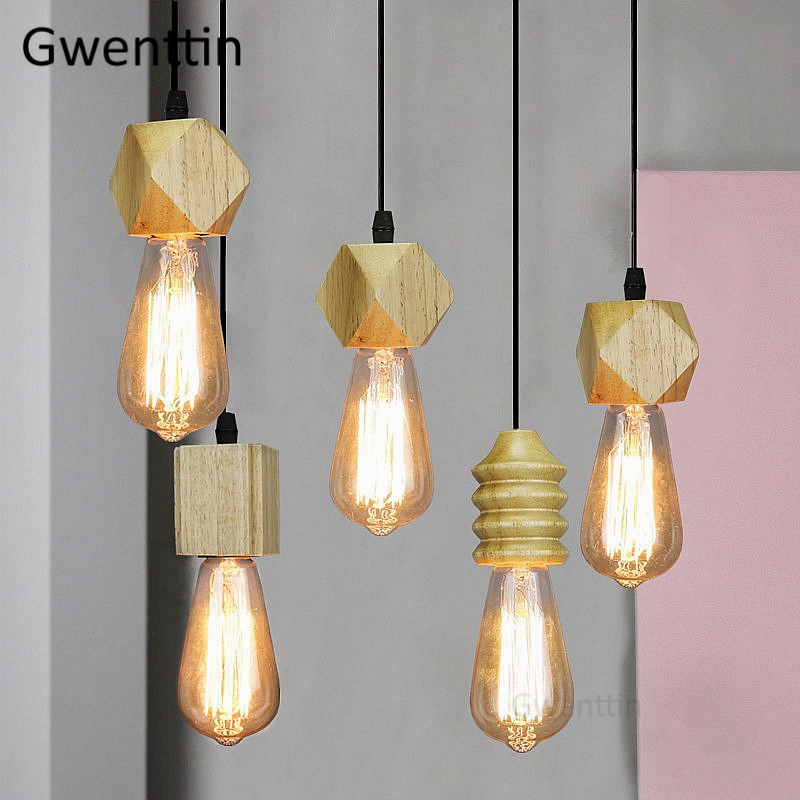 Nordic Wood Pendant Lights Modern Wooden Hanging Lamp For Home Dining Room Kitchen Light Fixtures Home Deco Industrial Luminaire