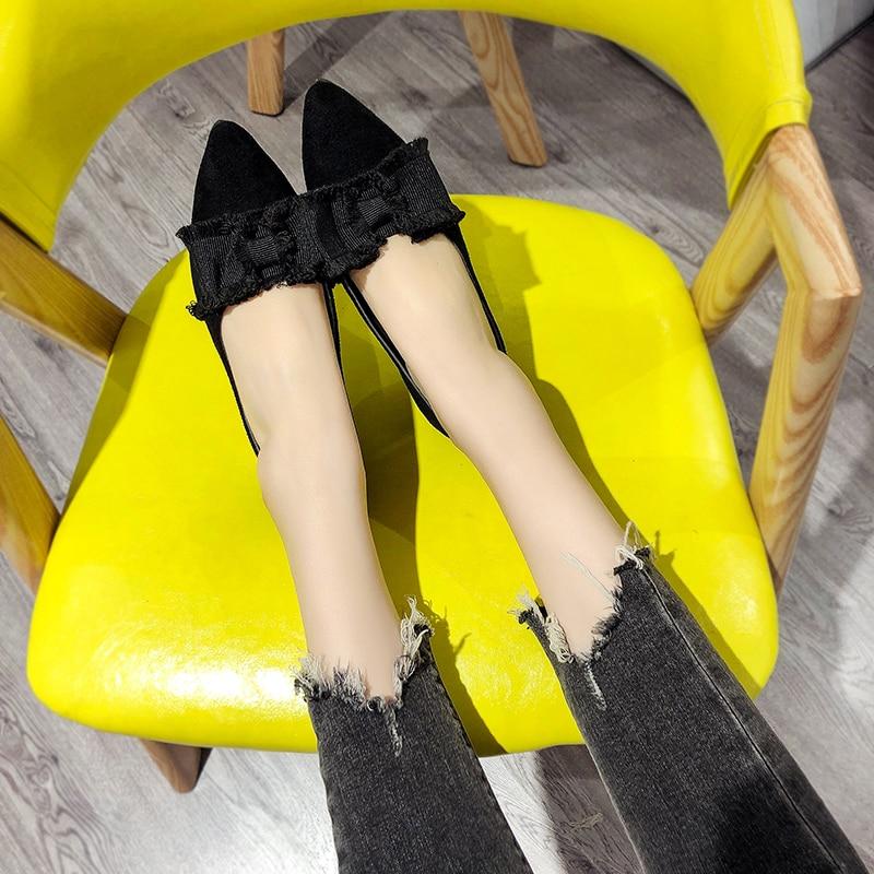 Bow Mujer Primavera Lona negro Las Beige Damas Zapatos Mujeres De Baja 2019 Punta Flats Nuevas Otoño Boca UYzWaz8