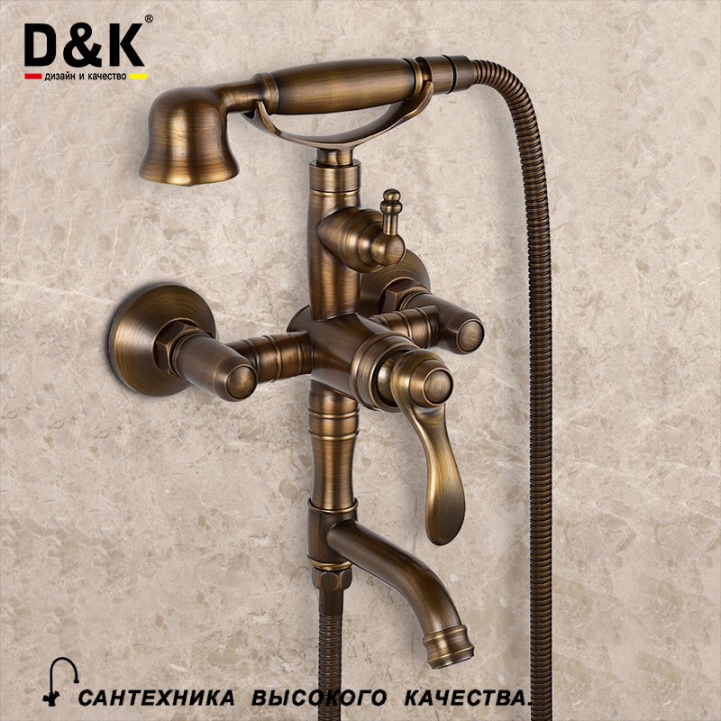 D K Bathroom Shower Faucets Set with Shower Head Single Handle Bathtub Shower Mixer Wall Antique
