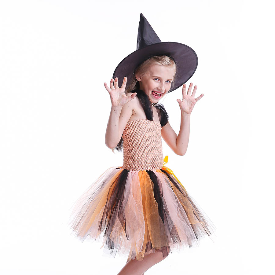 Girls Halloween Carnival Party Tutu Dress Kids Evil Witch Costume Photo Prop with Witch Hat  (7)