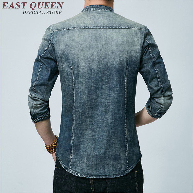 Male denim jacket shirt mens chinese clothing jacket traditional chinese clothes men oriental mens clothing denim shirt KK687