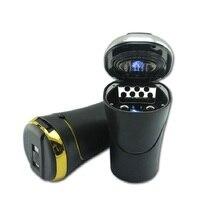 Luxury Portable LED Light Car Ashtray Cigarette Lighter Universal Cigarette Cylinder Holder With USB Charge Car