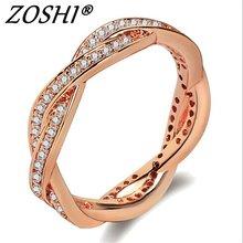 ZOSHI Zircon Engagement font b Rings b font for font b women b font Rose gold