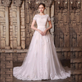 2017 Newest A Line Tulle Wedding Dress O Neck With Appliques Bride Gown Long Train Plus Size vestidos de novia