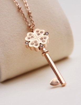 Fortunate Key Pendant Long Necklace Woman Gift Jewelry Titanium Rose - Fashion Jewelry - Photo 2