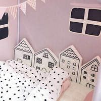 Crib Bumpers black white pink House shape Cotton Baby Bed Bumper Liner Baby Cot Sets Bed Around Protector kids room decoration
