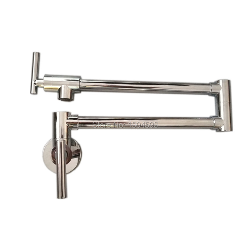 ФОТО Single Cold Pot Filler Tap Wall Mounted Kitchen Faucet Chrome Nickel Brushed / Alba Black 2017 Wholesale New Arrival