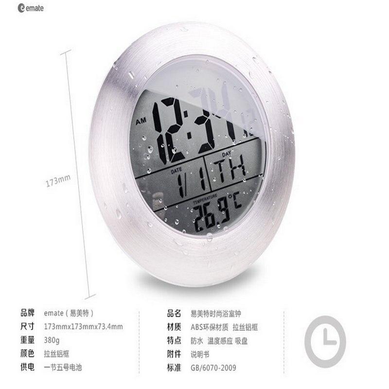 douche tanche silencieux horloges numriques mur cuisine salle de bain ventouse horloge montre moderne mode design date temprature dans horloges murales - Horloge Salle De Bain Ventouse