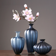 Creative  glass vase blue stripes vases terrarium containers flower jarrones decorativos moderno home decoration