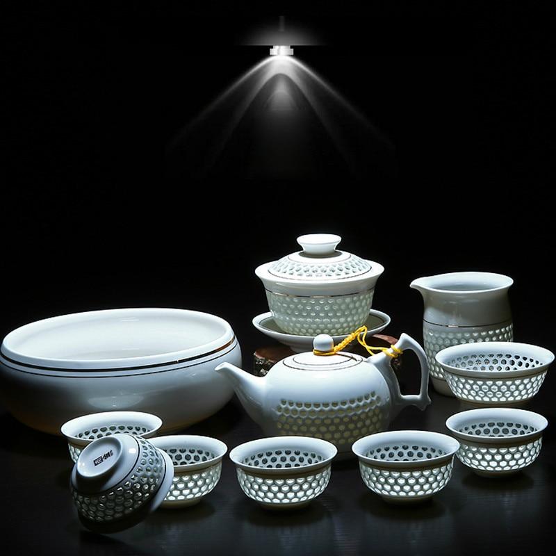 11PCS Hollow Honeycomb Kung Fu Tea Set Blue And White Porcelain Drinkware Ceramic Glass Teacup Teapot Gaiwan Strainer Fair Cup