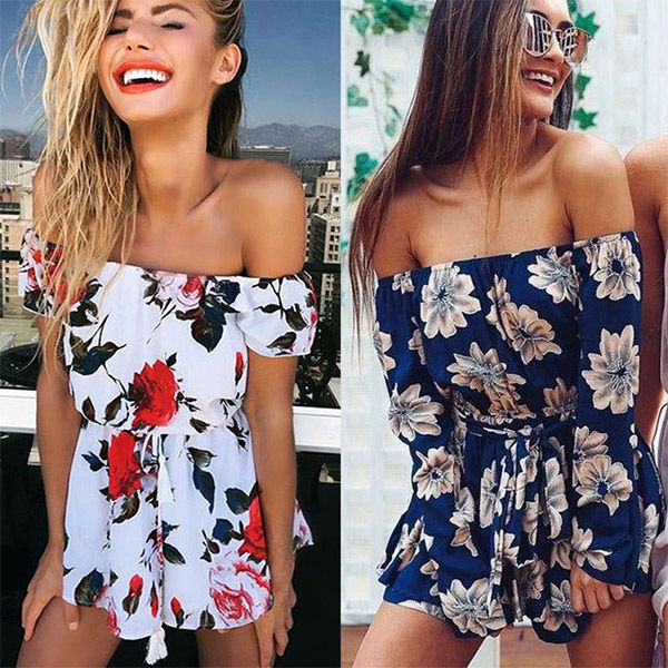 New Women Clothing Summer Beach Off Shoulder Jumpsuit Clubwear Bodycon Playsuit Romper Hot Bodysuits