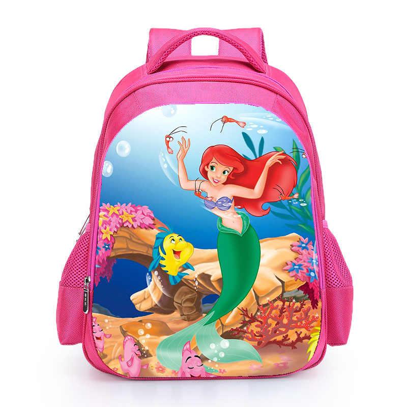 Little Mermaid Ariel กระเป๋าเป้สะพายหลัง 2018 สีชมพูเจ้าหญิงเด็กโรงเรียนกระเป๋า Fairy Tale กระเป๋านักเรียนกระเป๋าหนังสือสำหรับวัยรุ่นหญิง mochila bolsa