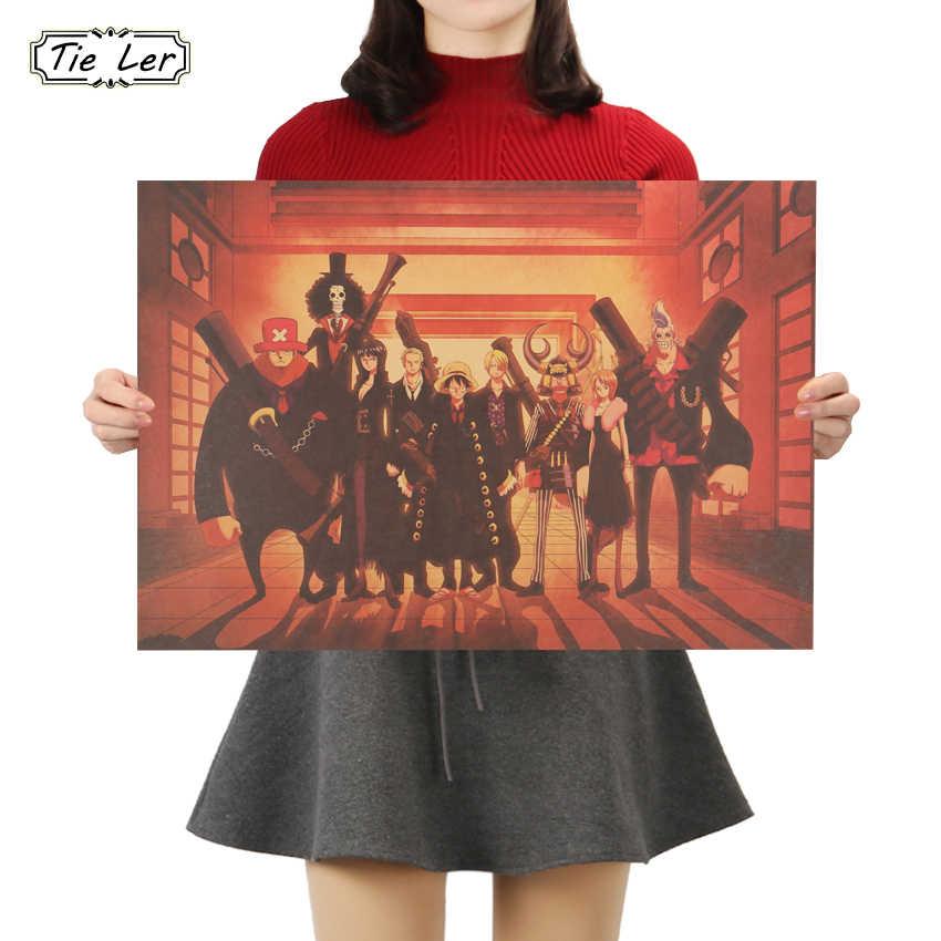 Плоский стикер на стену Винтажный Классический аниме цельный Луффи портретный плакат бумага для поделок в стиле ретро бар для кафе для дома Декор Живопись стикер на стену