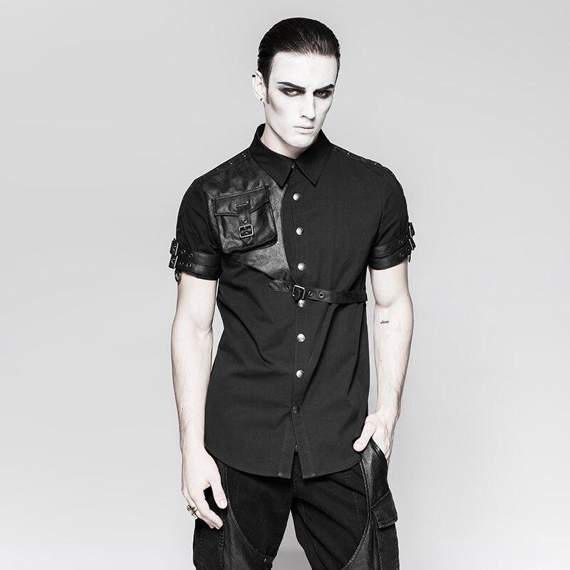 Chemises décontractées à manches courtes Steampunk pour hommes avec sac messager 3D sur le devant des hauts de chemise Style Punk
