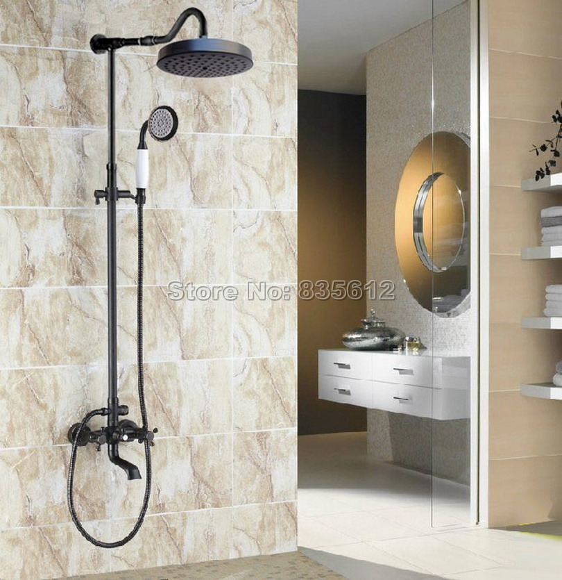 Black Oil Rubbed Bronze Bathroom Rain Shower Faucet Set with Round Shower Head / Hand Spray / Dual Handles Tub Mixer Taps Wrs668
