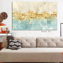 Top aritist high quality HandPainted Abstract Gold Art with Blue Wall Picture Handmade Golden Canvas Oil Painting for Home Decor