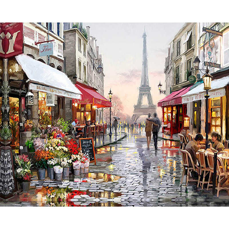 5D Full Round Diamond Embroidery Kit Pattern Diamond Painting Mosaic Bead Picture of Rhinestones Paris Landscape