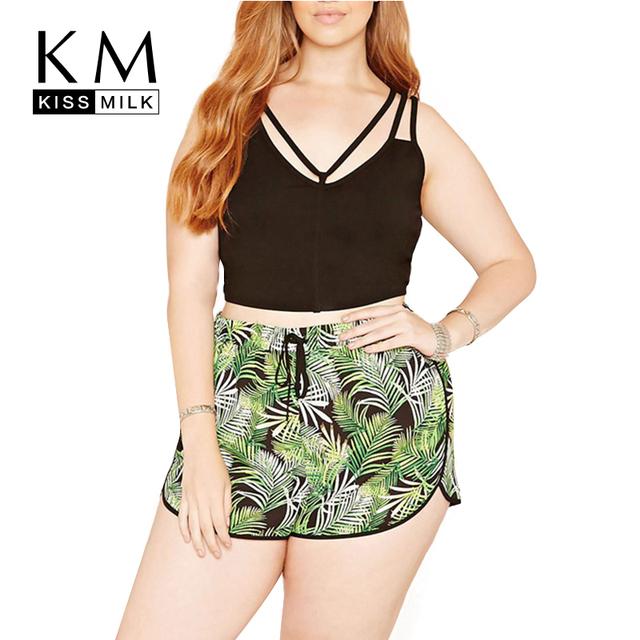 Kissmilk Plus Size Moda de Nova Mulheres de Slim Shorts Tamanho Grande cordão Ocasional Floral Impressão Shorts De Cintura Alta 3XL 4XL 5XL 6XL