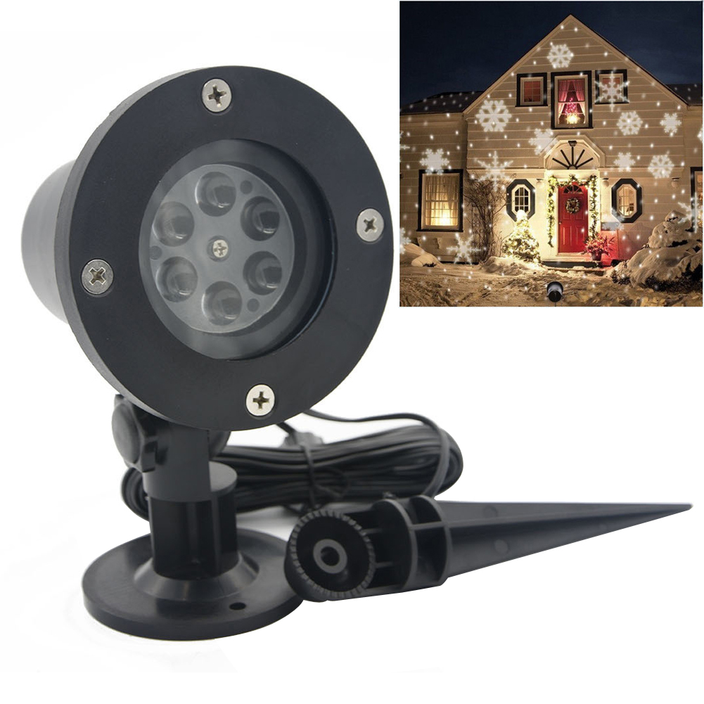 Christmas Lights Outdoor LED Snowflake Laser Projector Lights Star Lawn Lamps Light Waterproof Snow Lasers Garden Decoration white snowflake led stage lights waterproof projector lamps outdoor indoor decor spotlights for christmas party holiday lights