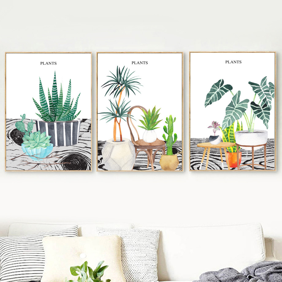 Watercolor-Cactus-Succulents-Plant-Potted-Wall-Art-Canvas-Painting-Nordic-Posters-And-Prints-Wall-Pictures-For