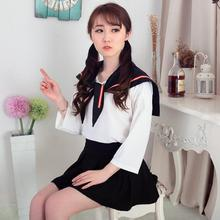 Japanese girls wear black and white The new students suit  uniforms summer sailor JK long sleeved englon